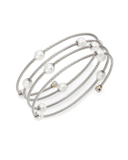 Alor - Metallic Classique 1.6mm White Round Freshwater Pearl, 18k White Gold & Stainless Steel Bracelet - Lyst