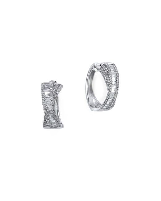 Effy | Metallic Classique Diamond And 14k White Gold Hoop Earrings, 1 Tcw | Lyst