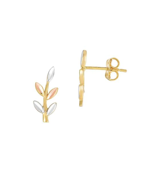 Saks Fifth Avenue - Metallic 14k Goldtri-color Leaf Climber Earrings - Lyst