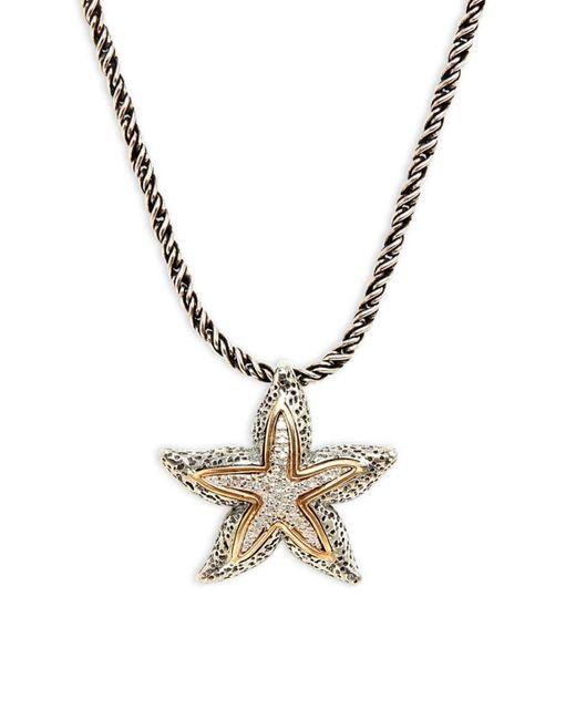 "Effy Metallic Women's 18k Yellow Gold, Sterling Silver & 0.07 Tcw Diamond Starfish Necklace/17"""