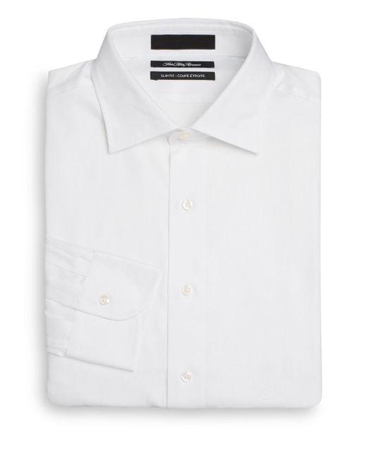 Saks Fifth Avenue White Slim-fit Solid Cotton Dress Shirt for men