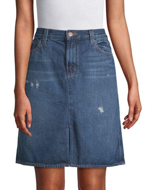 J Brand Blue Carolina Super High-rise Cotton Skirt