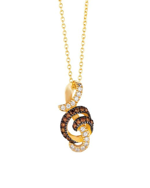 Le Vian - Metallic 14k Honey Gold, Vanilla Diamonds & Chocolate Diamonds Treble Cleff Pendant Necklace - Lyst