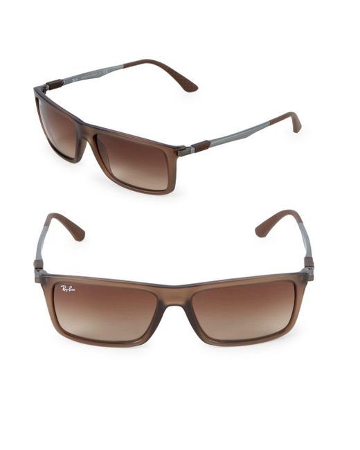 Ray-Ban - Brown 59mm Rectangle Wayfarer Sunglasses for Men - Lyst