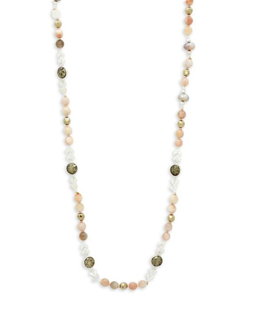 Chan Luu - Natural Tan Druzy Agate, White Jade And Sterling Silver Necklace - Lyst