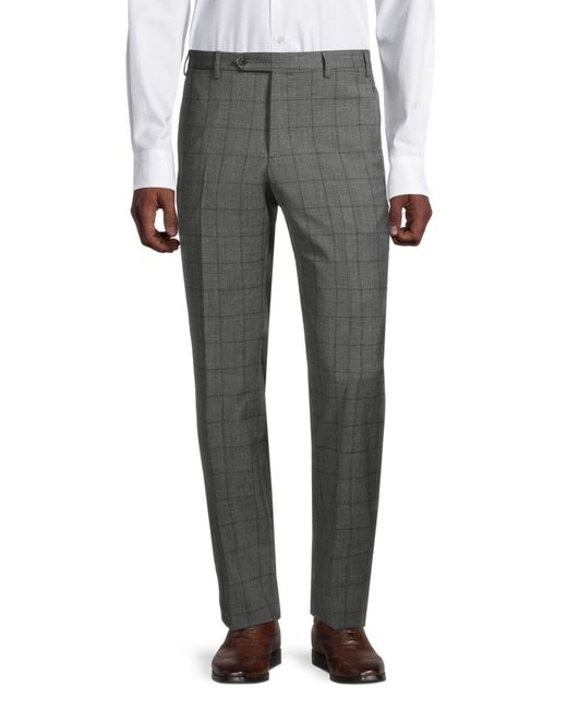 Zanella Gray Men's Devon Windowpane Wool Pants - Medium Grey - Size 35 for men