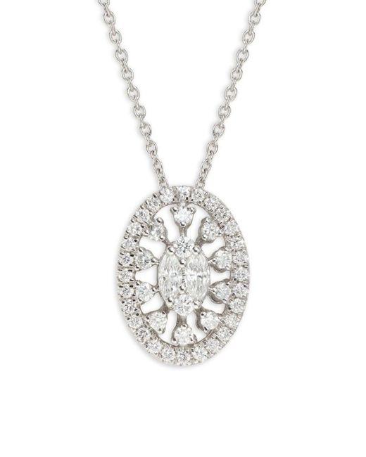 Saks Fifth Avenue Metallic Women's 14k White Gold & Diamond Pendant Necklace