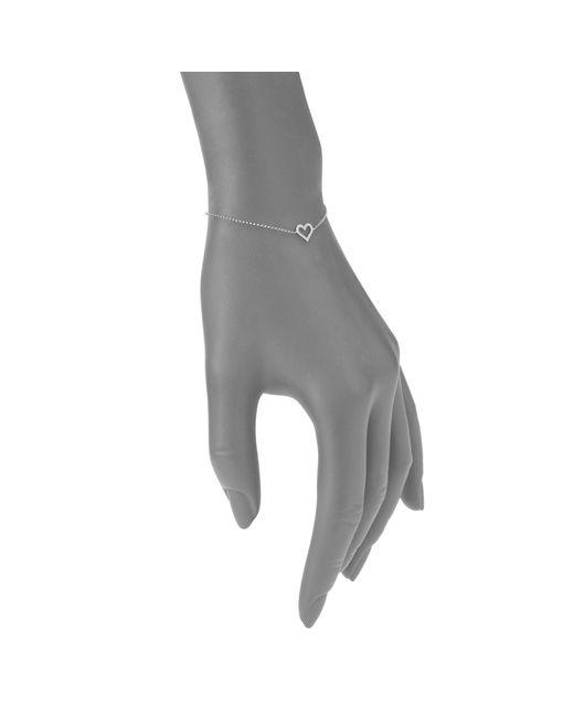 Effy Metallic Pave Classica 14k White Gold & Diamond Heart Bracelet