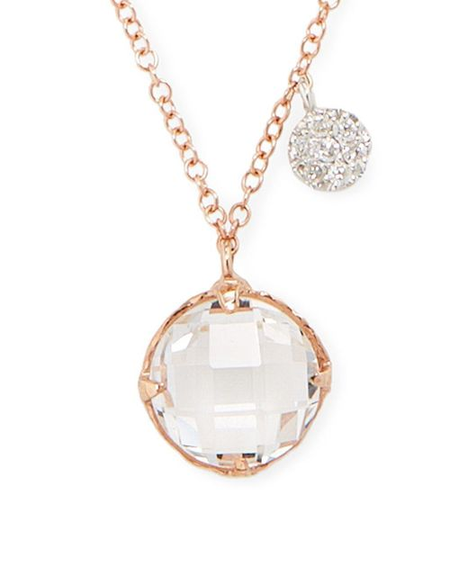 Meira T - Pink White Topaz, Diamond And 14k Rose Gold Pendant Necklace - Lyst