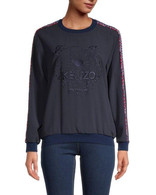 KENZO Women's Fishnet Tiger Crepe Top - Midnight Blue - Size Xs