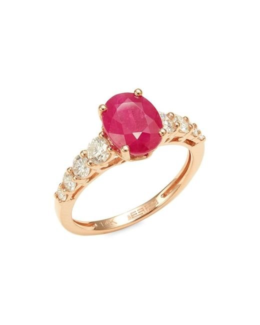 Effy Red Women's 14k Rose Gold, Ruby & 0.67 Tcw Diamond Ring/size 7 - Size 7