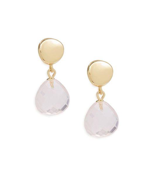 Saks Fifth Avenue - Metallic Crystal & 14k Yellow Gold Faceted Drop Earrings - Lyst