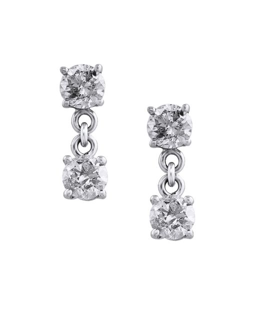 Effy - Metallic Pave Classica Diamond And 14k White Gold Drop Earrings, 0.98 Tcw - Lyst