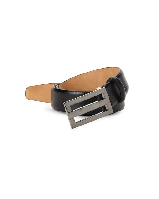 Saks Fifth Avenue Black Plaque Leather Belt for men
