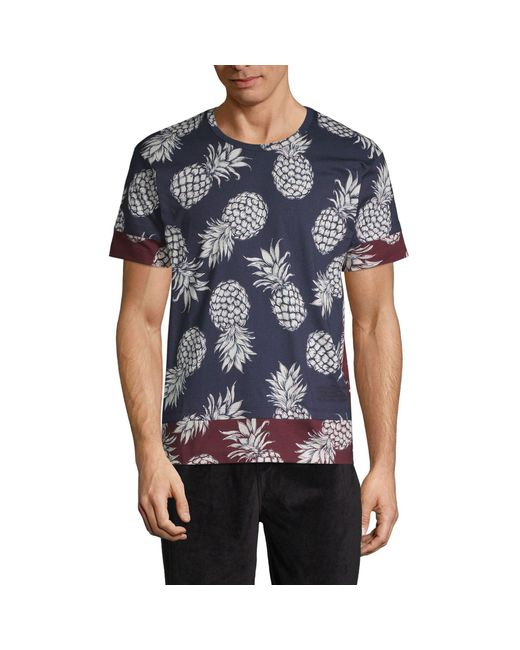 Valentino Blue Ananas Print Cotton Jersey T-shirt for men