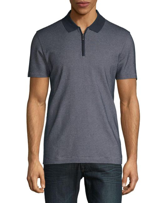 BOSS - Blue Polston Textured Cotton Polo for Men - Lyst