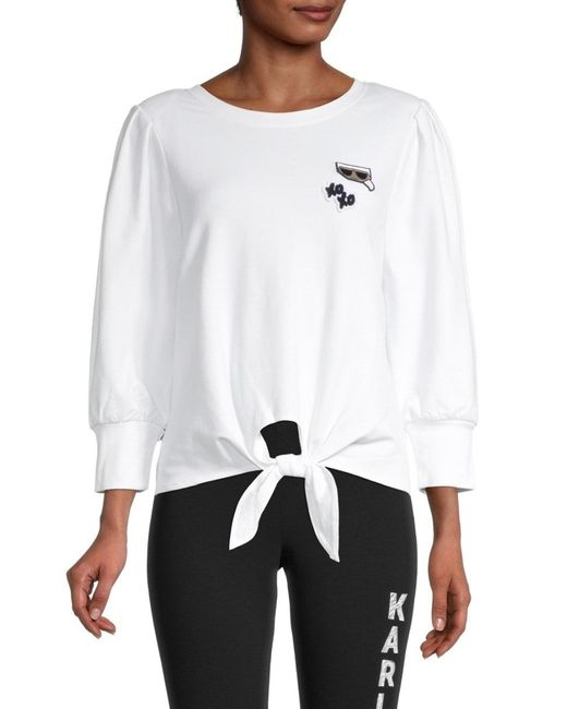 Karl Lagerfeld Women's Tie-front Long-sleeve Top - Soft White - Size Xl