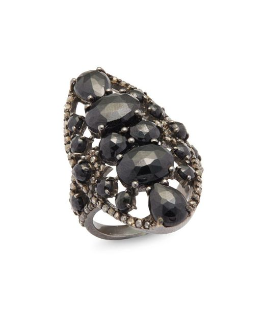 Bavna | Metallic 0.79 Tcw Diamond, Black Spinel & Sterling Silver Ring | Lyst