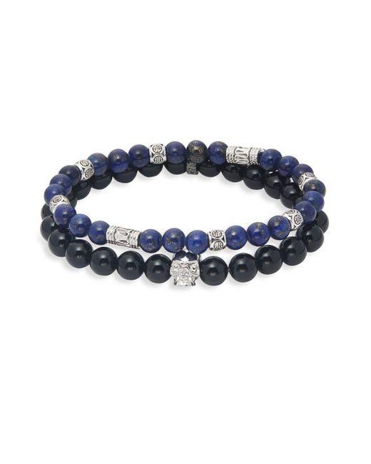 Perepaix Blue 2-piece Onyx & Lapis Skull Beaded Bracelet Set
