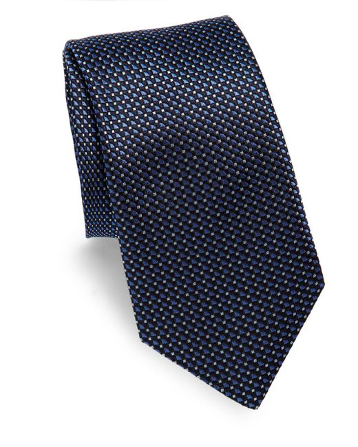 Saks Fifth Avenue - Blue Mini Diamond Silk Tie & Gift Box for Men - Lyst