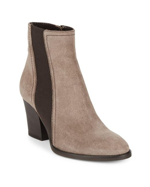 Aquatalia - Brown Contrast Stack Heel Ankle Boots - Lyst