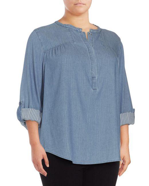 NYDJ - Blue Tessa Long-sleeve Cotton Top - Lyst