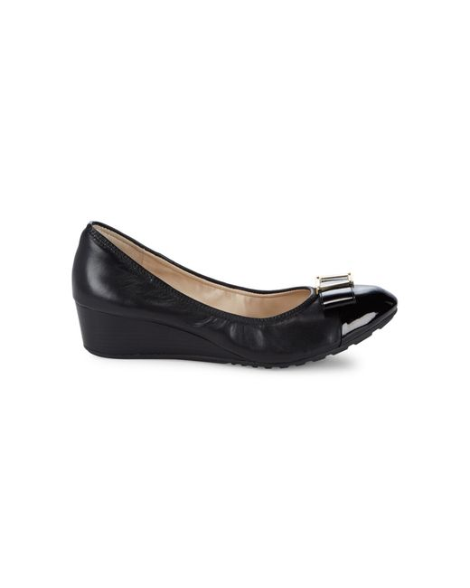 Cole Haan Black Emory Bow Wedge Shoes