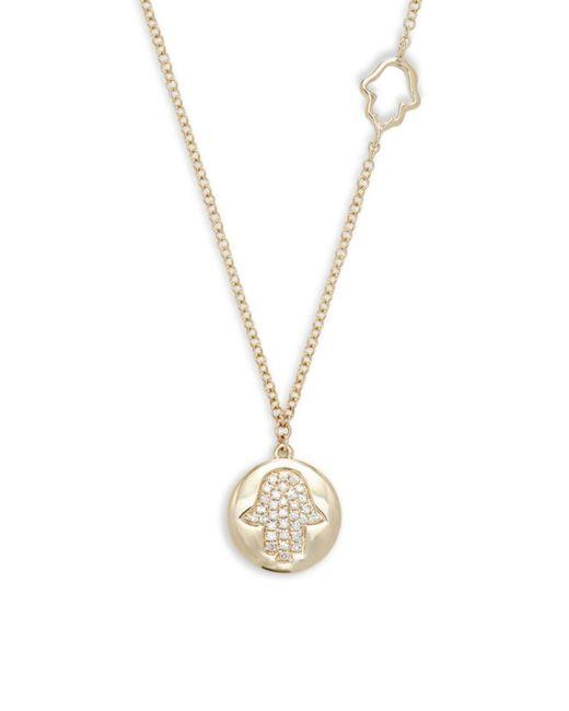 Saks Fifth Avenue Metallic Women's 14k Yellow Gold & Diamond Hamsa Pendant Necklace