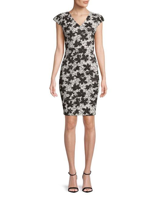 e16bb5e0 Calvin Klein Floral V-neck Dress in Black - Save 59% - Lyst
