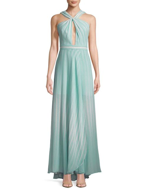 Halston Heritage - Green Striped Twist-front Floor-length Gown - Lyst