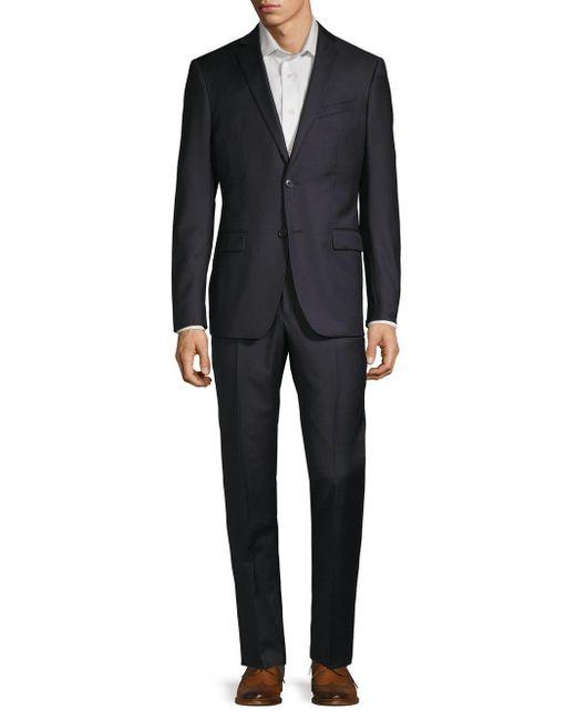 John Varvatos Blue Slim-fit Tonal Stripe Suit for men