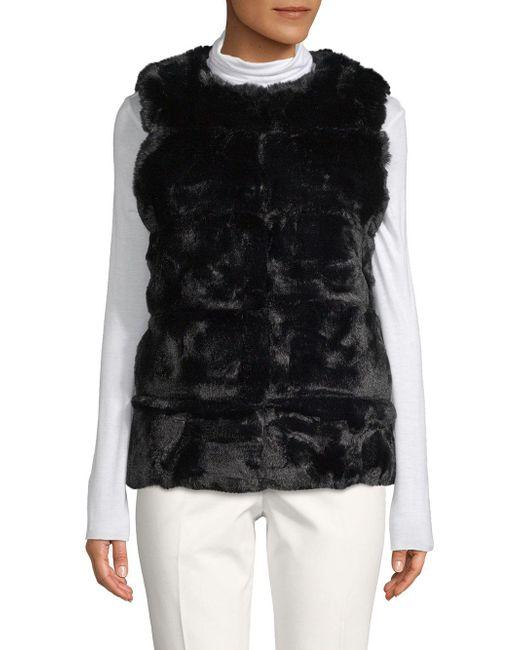 La Fiorentina Black Classic Faux Fur Vest