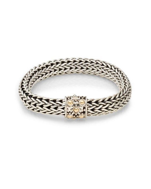 John Hardy - Metallic Dot Sterling Silver & 18k Yellow Gold Braid Bracelet - Lyst