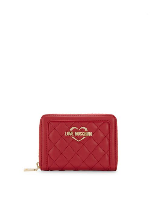 57fa7763d88 Love Moschino - Red Quilted Zip-around Wallet - Lyst ...