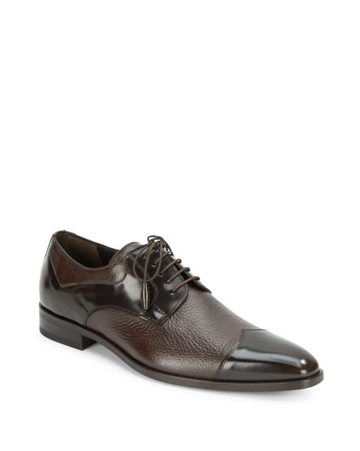 Mezlan | Brown Pebbled & Patent Leather Oxfords for Men | Lyst