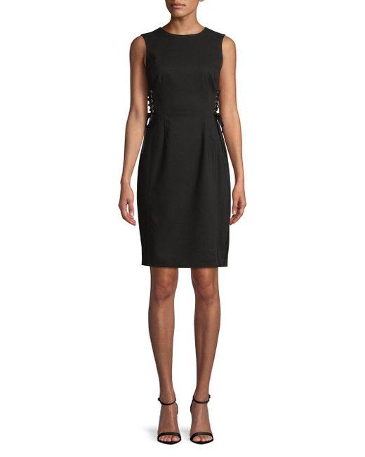 Calvin Klein - Black Lace-up Corset Sheath Dress - Lyst