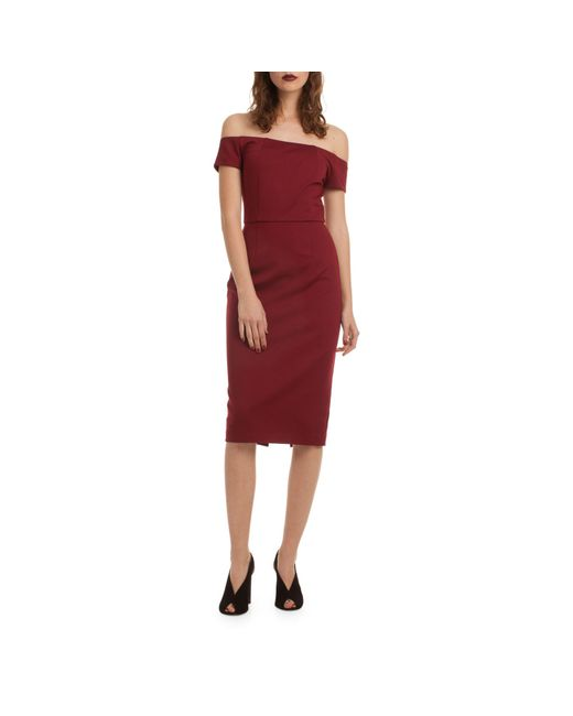 Trina Turk Red Candellyn Off-the-shoulder Shealth Dress