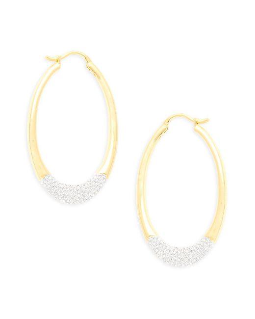 Adriana Orsini - Metallic Crystal Oval Hoop Earrings - Lyst