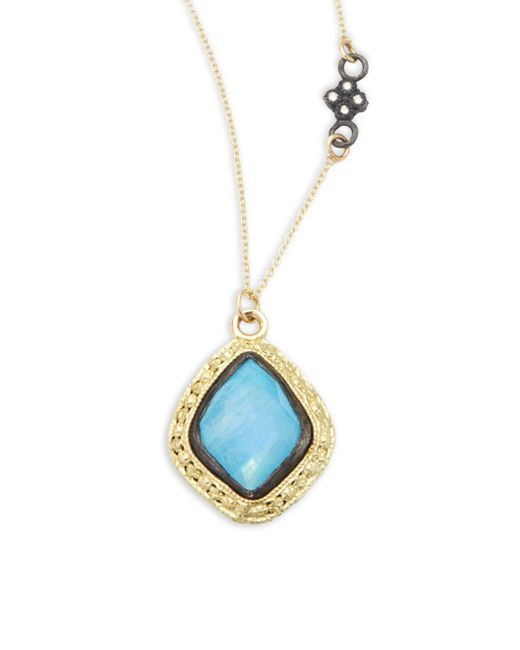 Armenta - Metallic Old World Champagne Diamond, Blue Turquoise, Rainbow Moonstone & 18k Goldplated Sterling Silver Pendant Necklace - Lyst