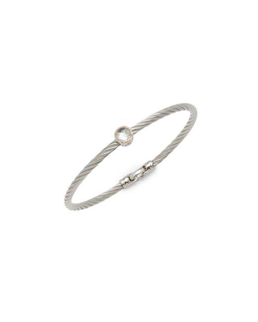 Alor Gray Stainless Steel Single White Topaz Bracelet