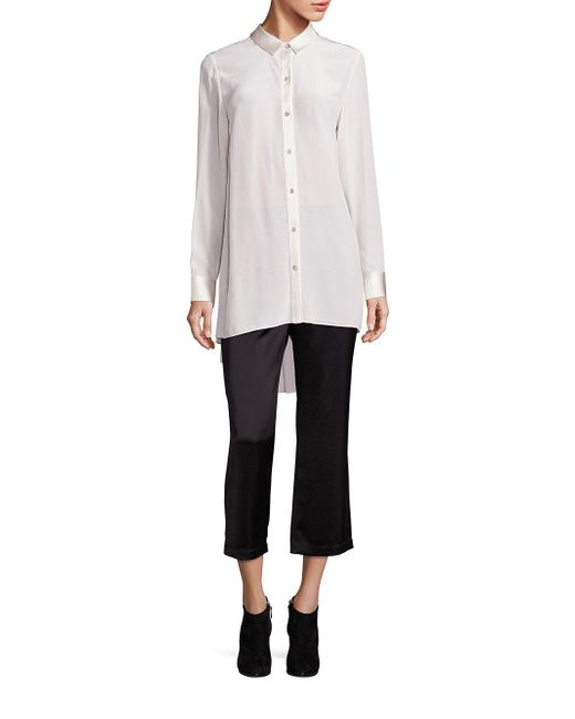 Eileen Fisher - White Silk Crepe Tunic - Lyst