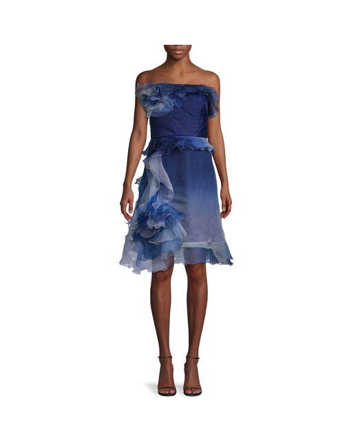 Marchesa Blue Off-the-shoulder Dress