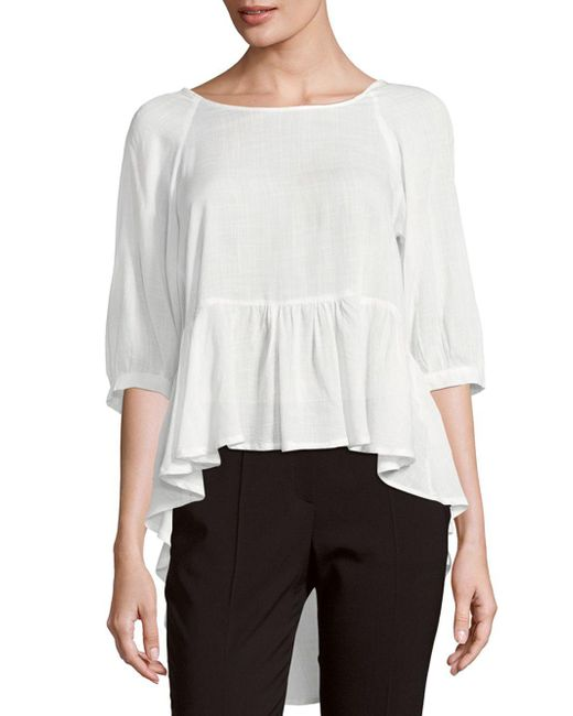 French Connection - White Ruffled Slub Top - Lyst