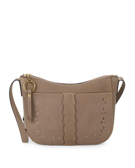 Frye - Gray Ilana Perforated Suede Crossbody Bag - Lyst