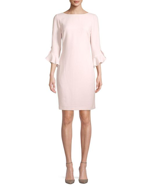Karl Lagerfeld - Pink Tulip-sleeve Sheath Dress - Lyst