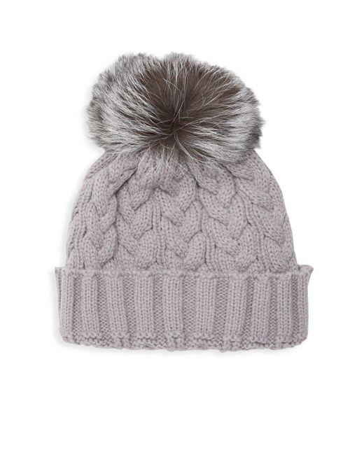 e6d8d1c06 Women's Gray Natural Fox Fur Pom Pom Hat