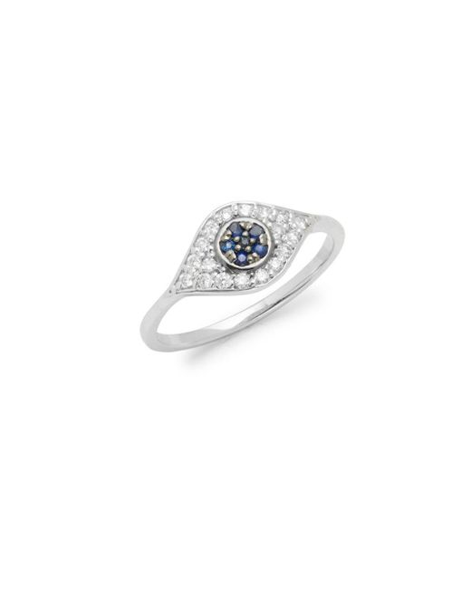 KC Designs | Metallic Diamonds, Blue Sapphire & 14k White Gold Evil Eye Ring | Lyst