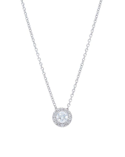 Nephora - Metallic 14k White Gold And Diamonds Solitaire Necklace - Lyst