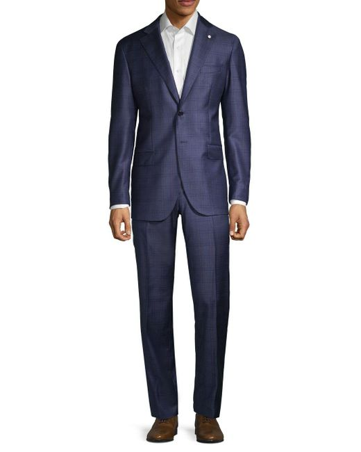 Lubiam Blue Modern-fit Windowpane Wool Suit for men