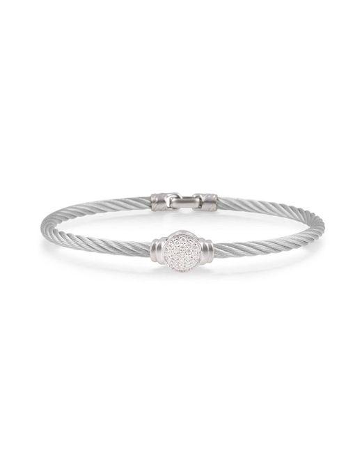 Alor - Metallic Pave Round Diamond Cable Bracelet Gray - Lyst